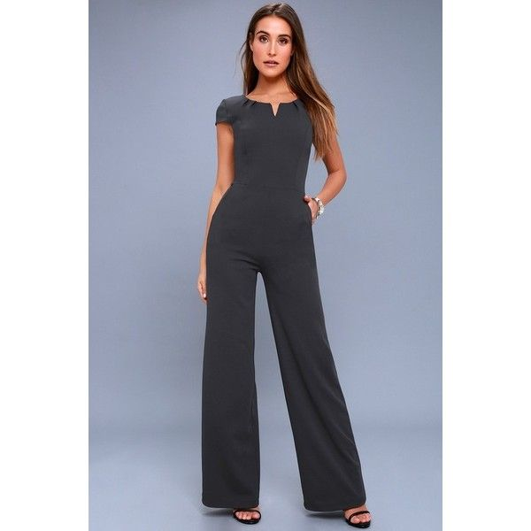 Lulus  Goal-Getter Charcoal Grey Short Sleeve Jumpsuit ($54) ❤ liked on Polyvore featuring jumpsuits, grey, stretch jumpsuit, jump suit, high waisted jumpsuit, grey jumpsuit and fitted jumpsuit
