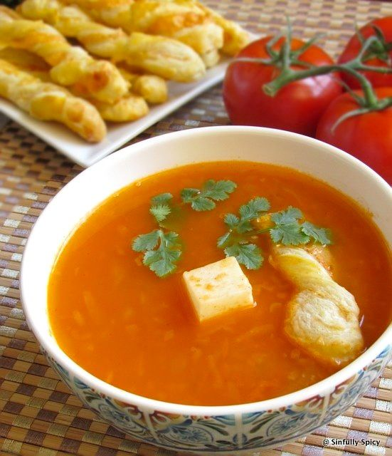 Indian Tomato Soup With Chilli Cheddar Puff SticksCheddar Puff Sticks, Tomatoes Ani, Eating, Indian Food, Chops Tomatoes, Chilli Cheddar, Indian Tomatoes, Tomatoes Soup, Indian Recipe