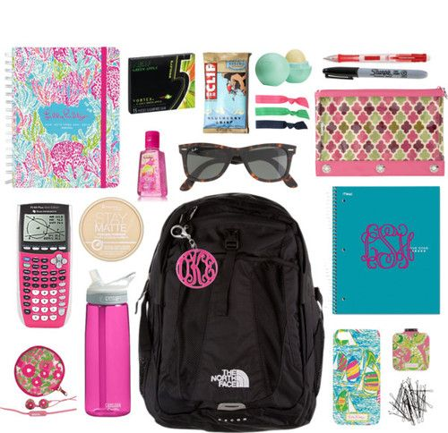 Whats in my School Bag by classically-preppy featuring a wayfare ❤ liked on PolyvoreLilly Pulitzer  case / J.Crew wayfare / Splendid hair accessory / Monogrammed key chain / HM metal hair clip, $2.27 / The North Face, $140 / Rimmel matte face powder, $6.05 / Eos sugar lip treatment / Vera Bradley  / 2013-2014 Lets Cha Cha Large Agenda by Lilly Pulitzer