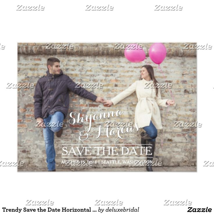 zazzle wedding invitations promo code%0A Trendy Save the Date Horizontal Photo Template