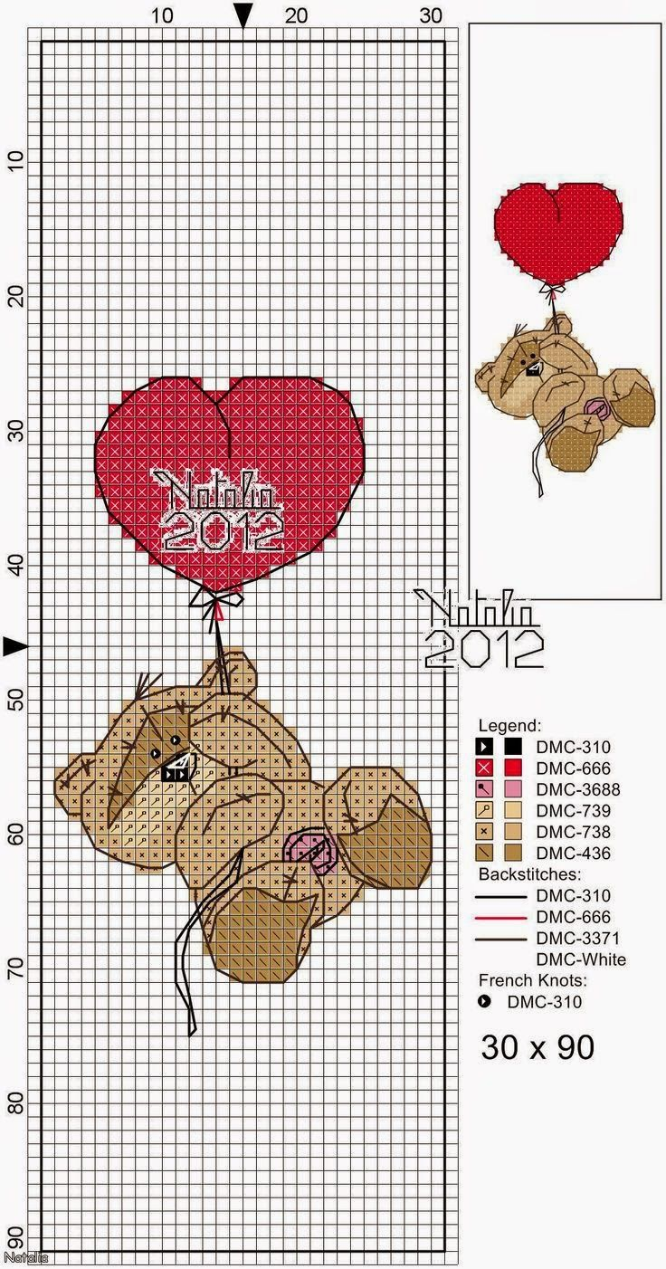 Cross Stitch Craze: Fizzy Moon Bear - Free Patterns - Valentines Day