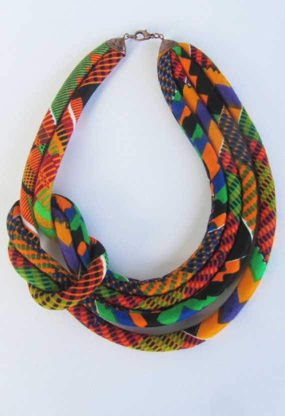Bib Necklace Kente fabric necklace. Gift for her orange by nad205