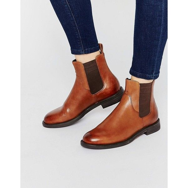 Vagabond Amina Tan Leather Flat Ankle Boots (1 240 SEK) ❤ liked on Polyvore featuring shoes, boots, ankle booties, tan, flat booties, short leather boots, flat leather boots, flat leather booties and short boots