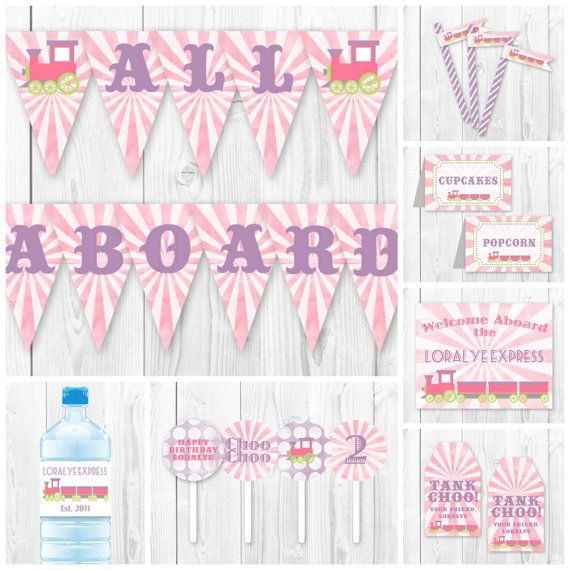 Pink Train Birthday Party Package. DIY Printable Train Party Decorations. Girl Train Birthday Package.
