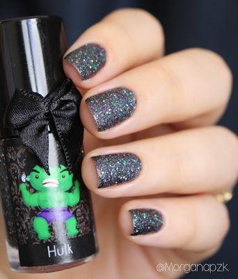 Esmalte Hulk da Esmaltes da Kelly. Nails by @morganapzk. Indie Polish. Glitter. Glamour. Nail art. Sand. Esmalte texturizado de tanto glitter.