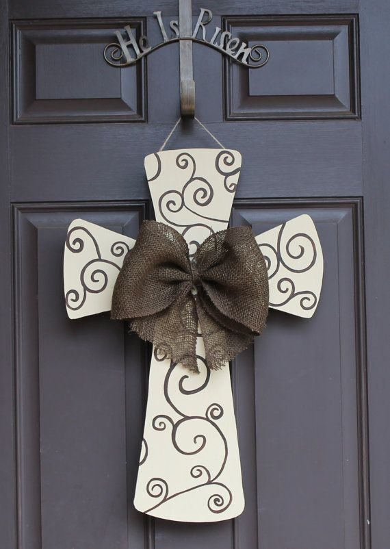 Hey, I found this really awesome Etsy listing at https://www.etsy.com/listing/224148612/he-is-risen-easter-wooden-cross-door