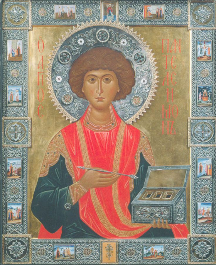 St. Panteleimon the Great Martyr and Unmercenary icon - Commemorated July 27 (http://pravicon.com/images/sv/s1660/s1660010.jpg)