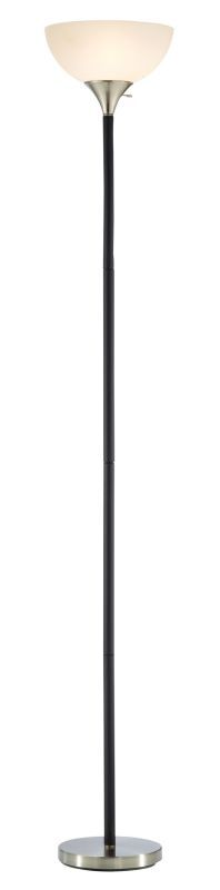 "Adesso 7007 Gander 1 Light 71"" Tall Torchiere Floor Lamp with Acrylic Bowl Shade Black Lamps Floor Lamps"
