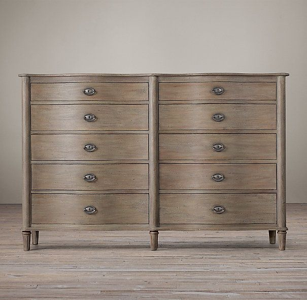 Color wash - Coco, Paris Grey & Old Ochre. Oh so pretty! (Restoration Hardware Empire Rosette 10-Drawer Dresser)