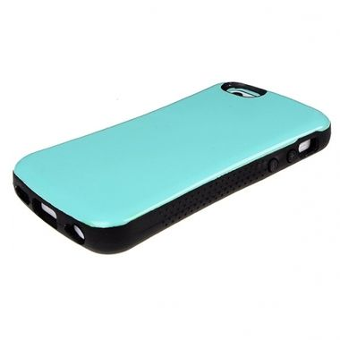 Apple iPhone 5C - Solid Light Green Glossy Cover With Soft TPU Black Bumper - Candygrip