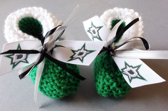 Dallas STARS Hockey Fans Handmade Baby Booties by ZZsTeamTime, $10.00