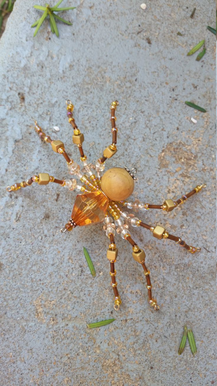 Large Brown and Beige Beaded Spider by OptimisticOut1ook on Etsy