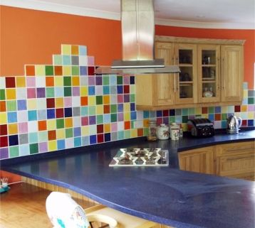 Colorful tile backsplashColors Kitchens Ideas, Colors Tile, Kitchens Tile, Google Search, Tile Backsplash, Modern Kitchens, Colours Kitchens, Colours Tile, Kitchen Tiles