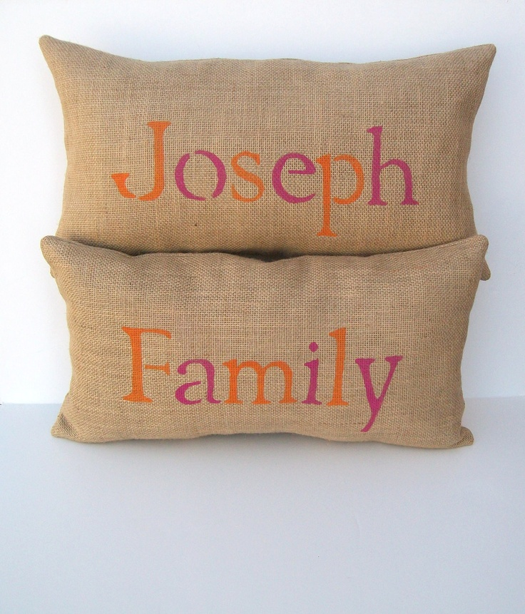 burlap pillows personalized family name by whimsysweetwhimsy, $52.50