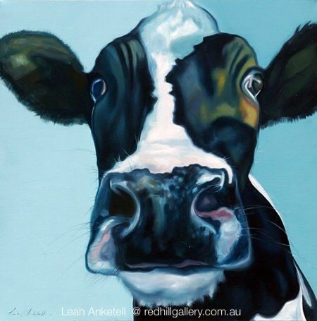"Leah Anketell painting of cow ""Jack"" Red Hill Gallery, Brisbane. redhillgallery.com.au"