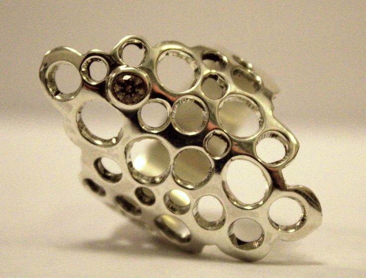 Sterling silver ring with a smoky swarovski stone. Scandinavian design
