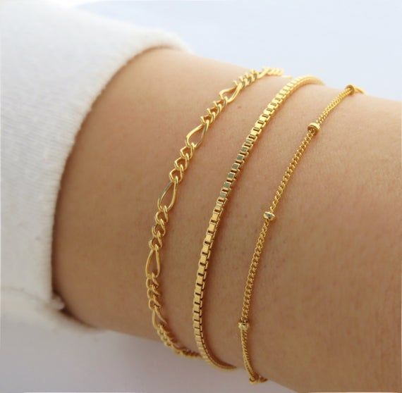 Dainty two-layer gold bracelet with gold beads THALIA