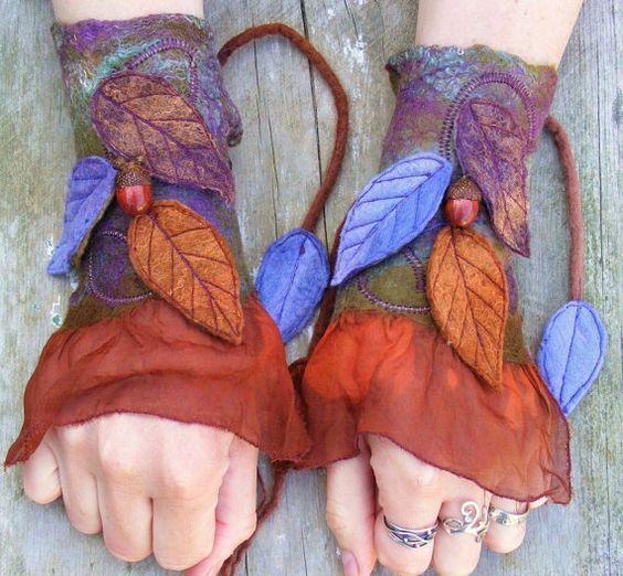 Felt Faery Cuffs - nuno felt cuffs-  pixie gloves - forest gloves - acorn leafy cuffs - fairy costume: