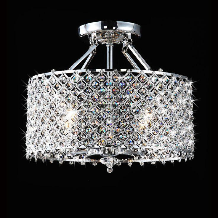 Chrome Crystal 4 light Round Ceiling Chandelier 4 light