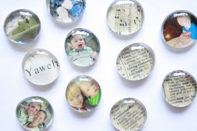DIY Glass Picture Magnets (Check the dollar store for the glass beads)
