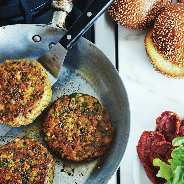 These delicious Chickpea-falafel burgers will impress vegetarians and meat lovers too. For more burger recipes, go to Chatelaine.com!