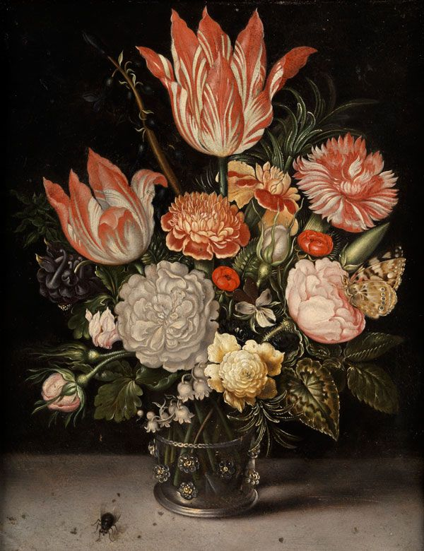 Ambrosius Bosschaert,  1573-1621 The Hague, workshop STILL LIFE WITH BOUQUET IN A GLASS VASE WITH HOUSEFLY