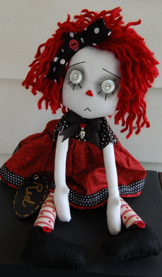 gothic raggedy ann dolls | Red Cloth Art Ghost Goth Raggedy Ann style Doll by OCRLimitedArts