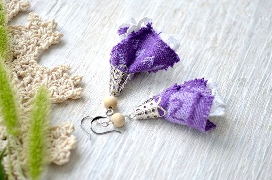 Boho earringsDangle purple by MiracleFromThreads on Etsy