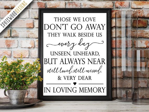 In Loving Memory Wedding Print. Wedding Remembrance. Memorial Table Sign. Wedding Reception Decorations. Wedding Sign.