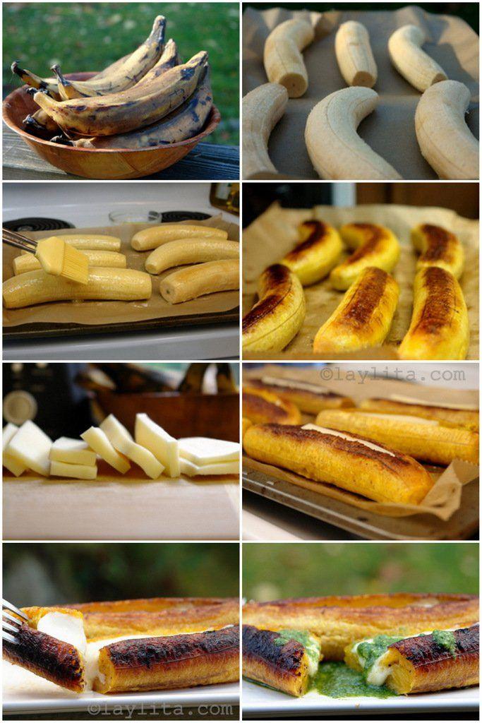 Modo de preparar bananas-da-terra maduras recheadas com queijo
