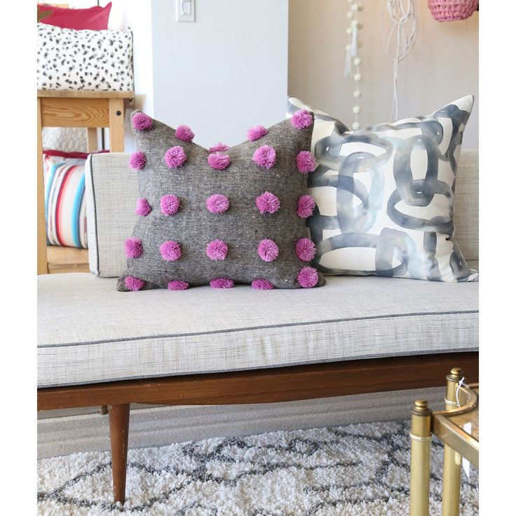 Each one of these pom pom pillow covers are spun by hand in Mexico and individually woven on a backstrap loom using undyed natural wool and traditional process