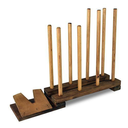 Stained Wooden Brown 4 Pair Welly Rack Storage Wellington Walking Boot Hold Stand Plus Welly Remover