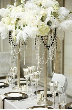 1920's Great Gatsby wedding  www.tablescapesbydesign.com https://www.facebook.com/pages/Tablescapes-By-Design/129811416695