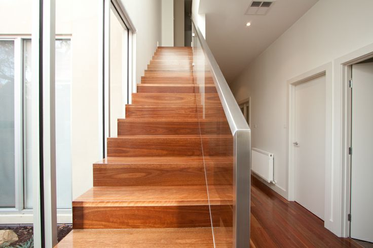 Spotted Gum Timber Modern Closed Stair Cut Strings