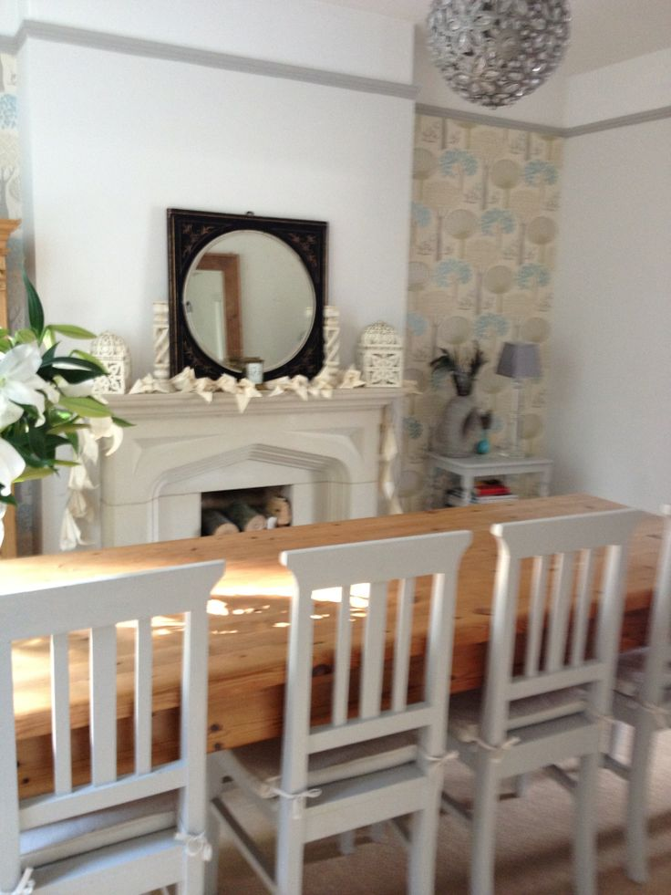 Dining chairs painted in Farrow & Ball Pavilion Gray - has old solid bench the other side