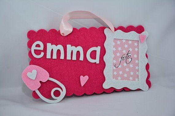 targa in feltro per la cameretta, fuori porta, porta foto e nome personalizzata