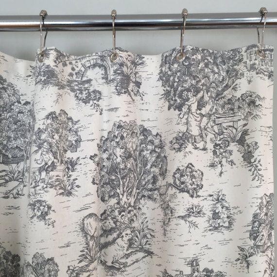 grey toile farmhouse fabric shower