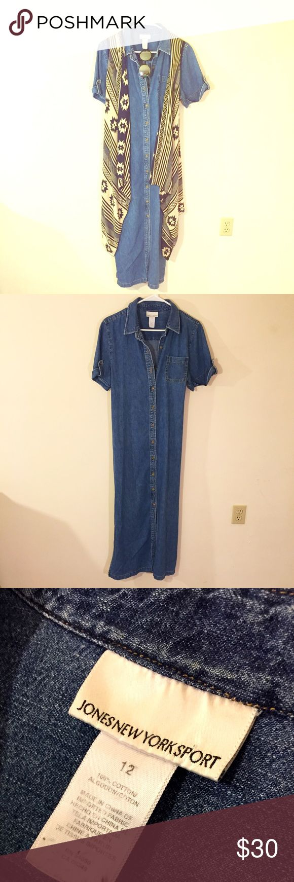 Phoebe Buffay Long Denim Dress Phoebe loved her some denim dresses. Add a long vest, some chunky platforms, and a floppy hat to give this vintage dress a festival vibe. Size 12 - sale is final. Ships in 2-3 days from Kingston NY. Sorry accessories not for sale - just the dress. ⭐️ Jones New York Sport Dresses