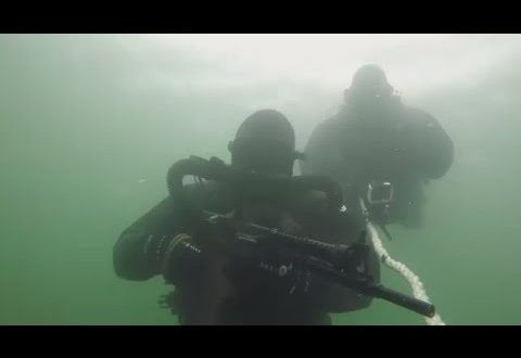 Russian Marine Special Forces practice underwater gunfire
