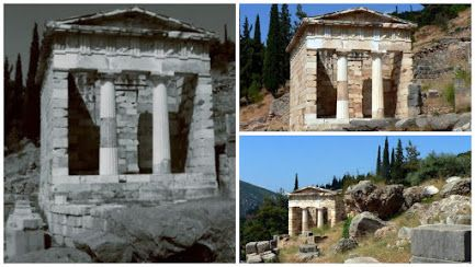 The Archaeological Site of Ancient Delphi (Δελφοί) - his now-restored 'treasury' was built to commemorate the Athenians' victory at the Battle of Marathon (Μάχη τοῦ Μαραθῶνος) in 490 BC. Συλλογές - Google+