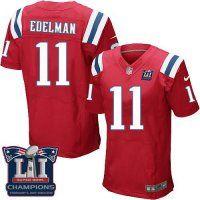 Men's New England Patriots #11 Julian Edelman Red Alternate Super Bowl LI Champions Nen Elite Jersey