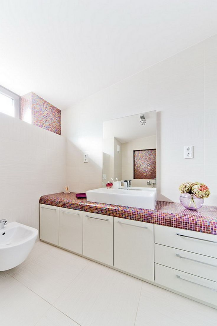 acrylic panels for bathroom walls%0A Playful Bathroom Design With Mosaic Glass Tile Vanity Countertop Idea White  Sink Abd Frameless Wall Mirror