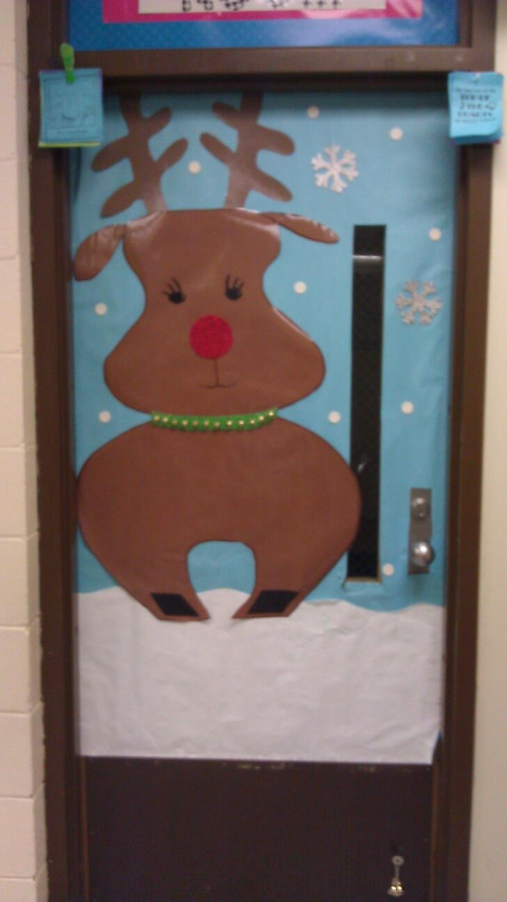 Rudolph door- front door to classroom--would be so cute to add jingle bells :)