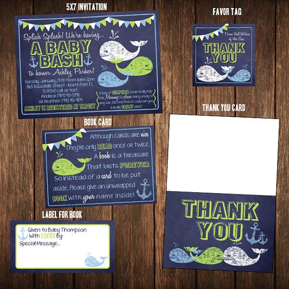 Chalkboard Nautical Whale and Anchor Baby Shower by TypeMeetsPaper