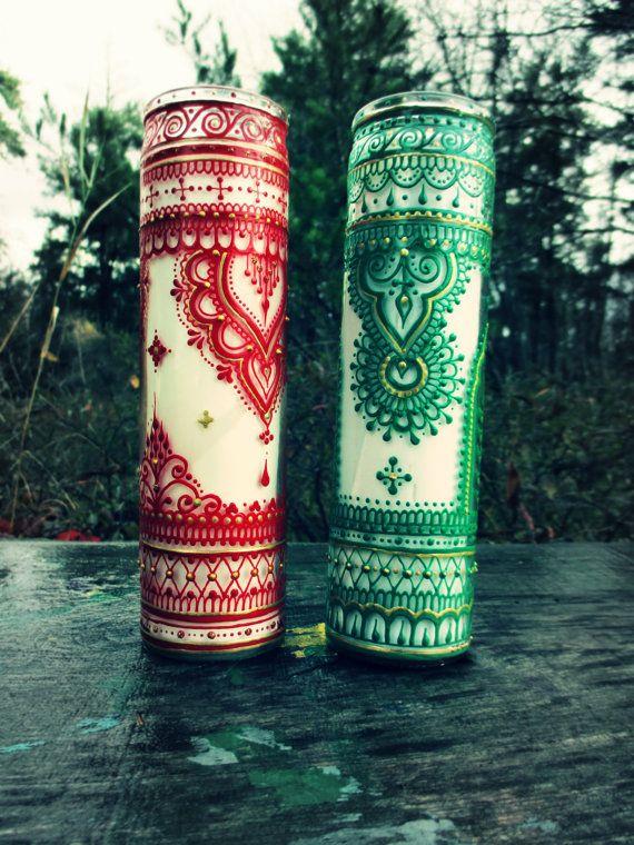 Mehndi Candles Facebook : Holiday christmas yule candles bohemian henna mehndi by