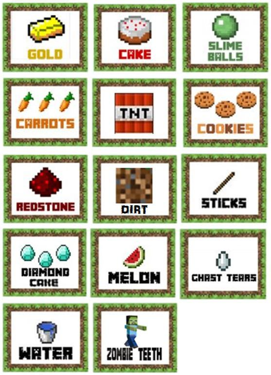 Minecraft party food lables