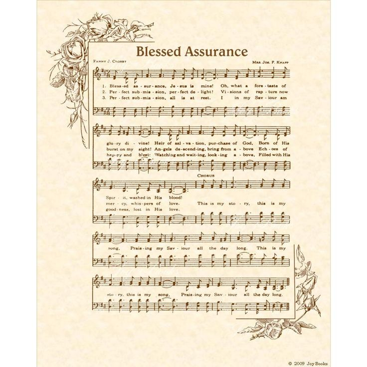 BLESSED ASSURANCE --- 8 x 10 Antique Hymn Art Print Natural Parchment Sepia Brown Vintage Verses Sheet Music Songs About Jesus Fanny Crosby