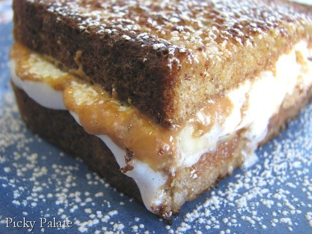 Puffy Banana Peanut Butter Cup Sweet Grilled Sandwich