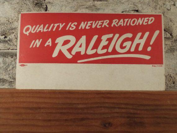 vintage Raleigh bike sign, vintage cardboard bicycle advertising sign