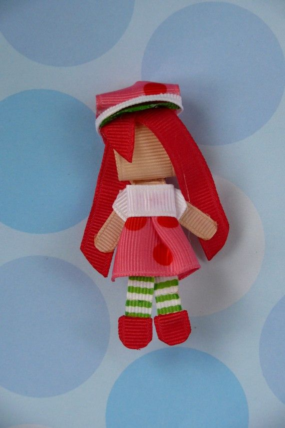 strawberry shortcake, hair, ribbon, sculpture, bow, band, pin, clip, toy, doll house